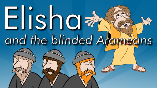 Elisha the prophet is spoiling the King of Aram's attempts to conquer Israel, so the king sends an army to capture Elisha, but the prophet turns to God for help and by a miracle the army of Aram is defeated