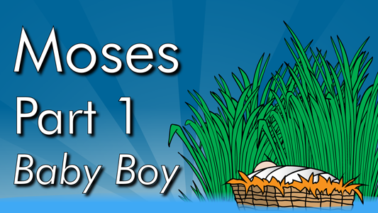 Moses is born and his parents save him from being drowned by placing him in a basket in the bulrushes